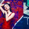 graffiti red dress